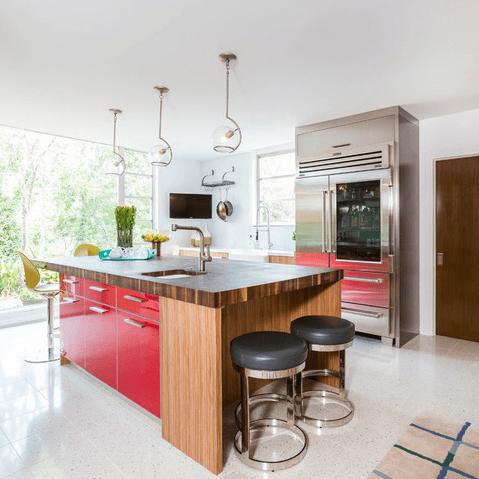 Houzz Houston house home 1960s London Texas style kitchen midcentury modern