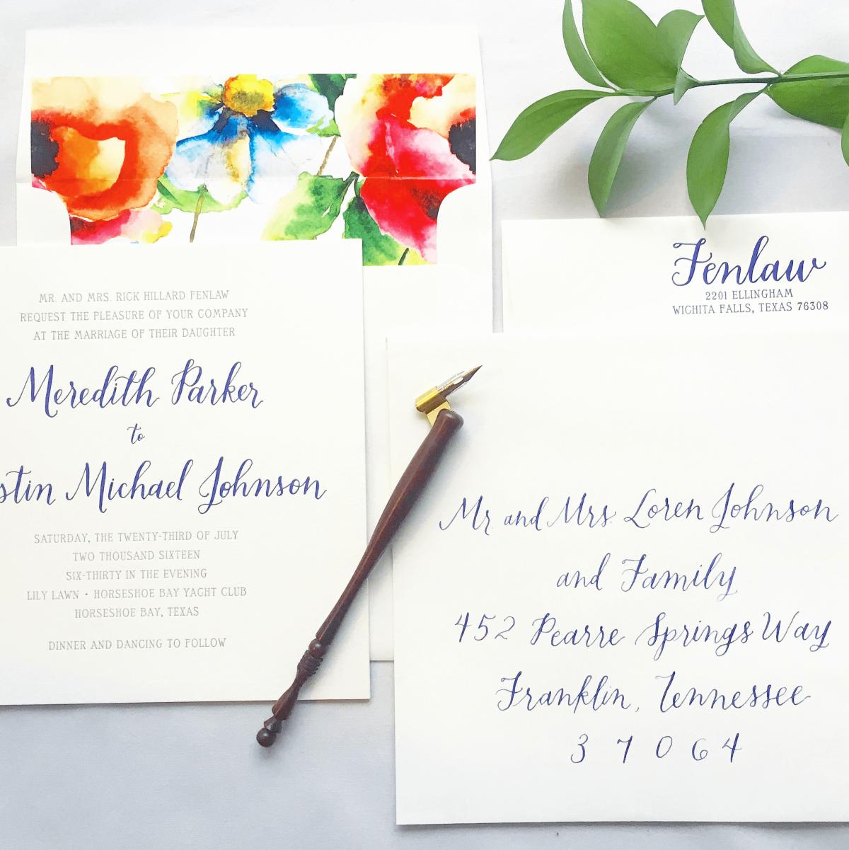 Exquisite Squid Allison Hembd wedding invitation calligraphy