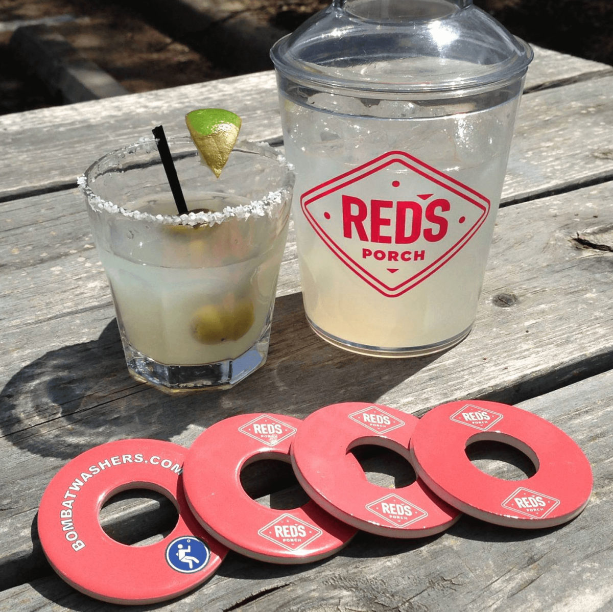 Red's Porch margarita washers game
