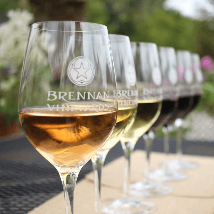 Brennan Vineyards Comanche wine glasses