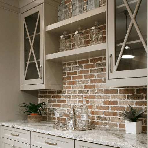 Built-in bar with brick wall