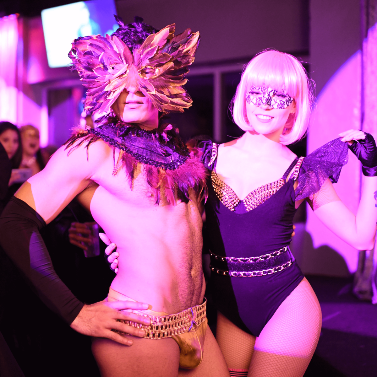Unidentified couple at Heart of Fashion Masquerade Ball
