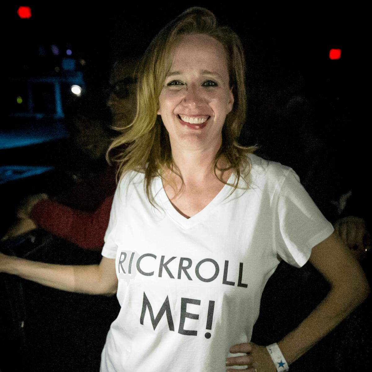 Rick Astley fan Katie Sherborne