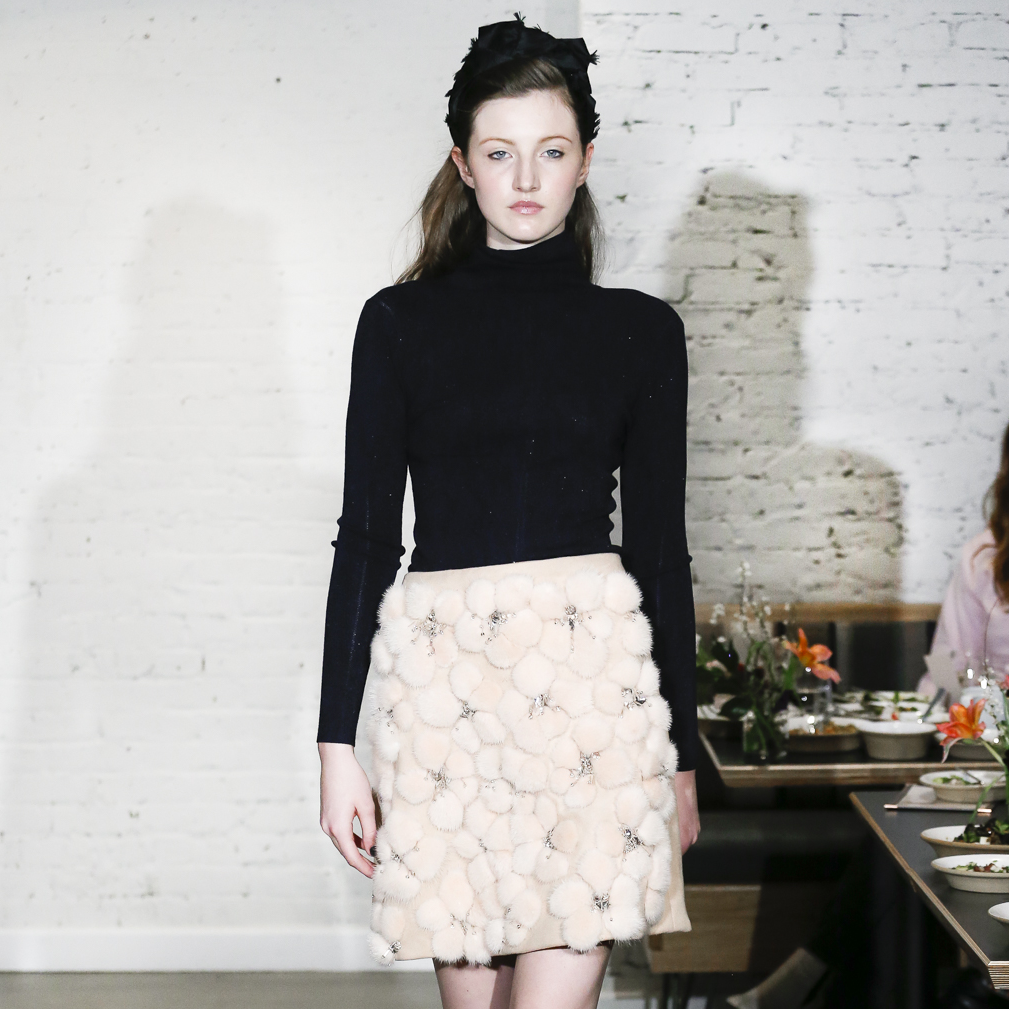Lela Rose fall 2017 collection at New York Fashion Week, petal mink embroidered skirt