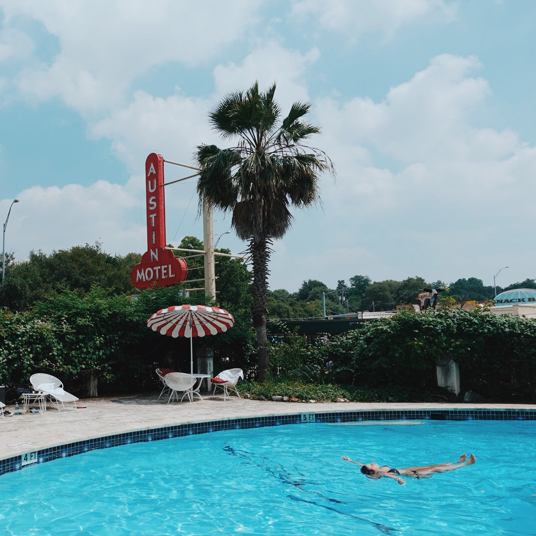 Austin Motel South Congress hotel Bunkhouse pool sign