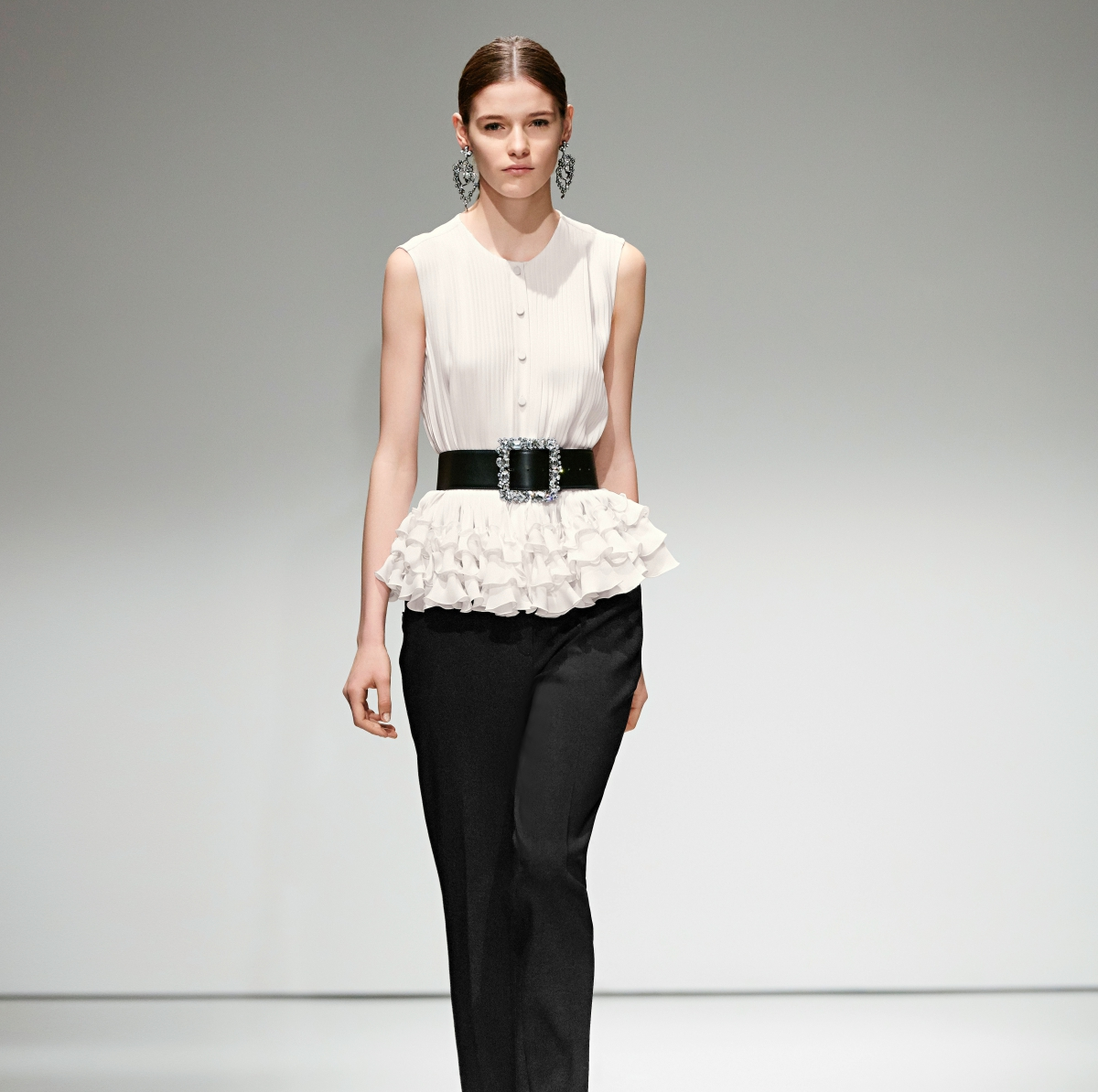 Escada black slacks white peplum top