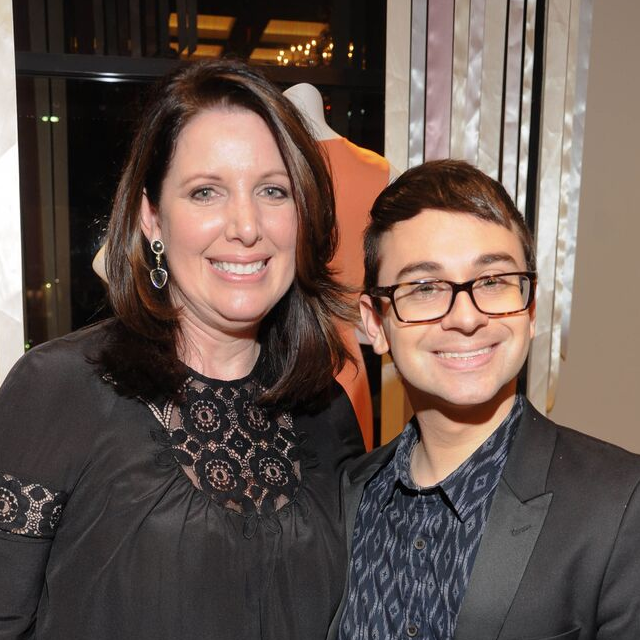 Julie Roberts and Christian Siriano at Elizabeth Anthony Passion for Fashion cocktail party