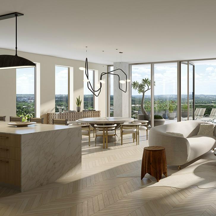 Austin Proper residence living dining room rendering 2015