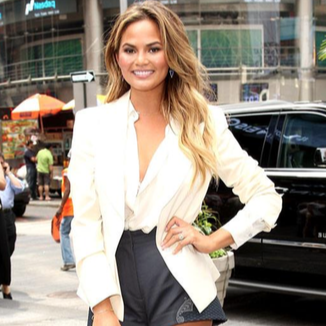 Chrissie Teigen in H&M conscious shorts