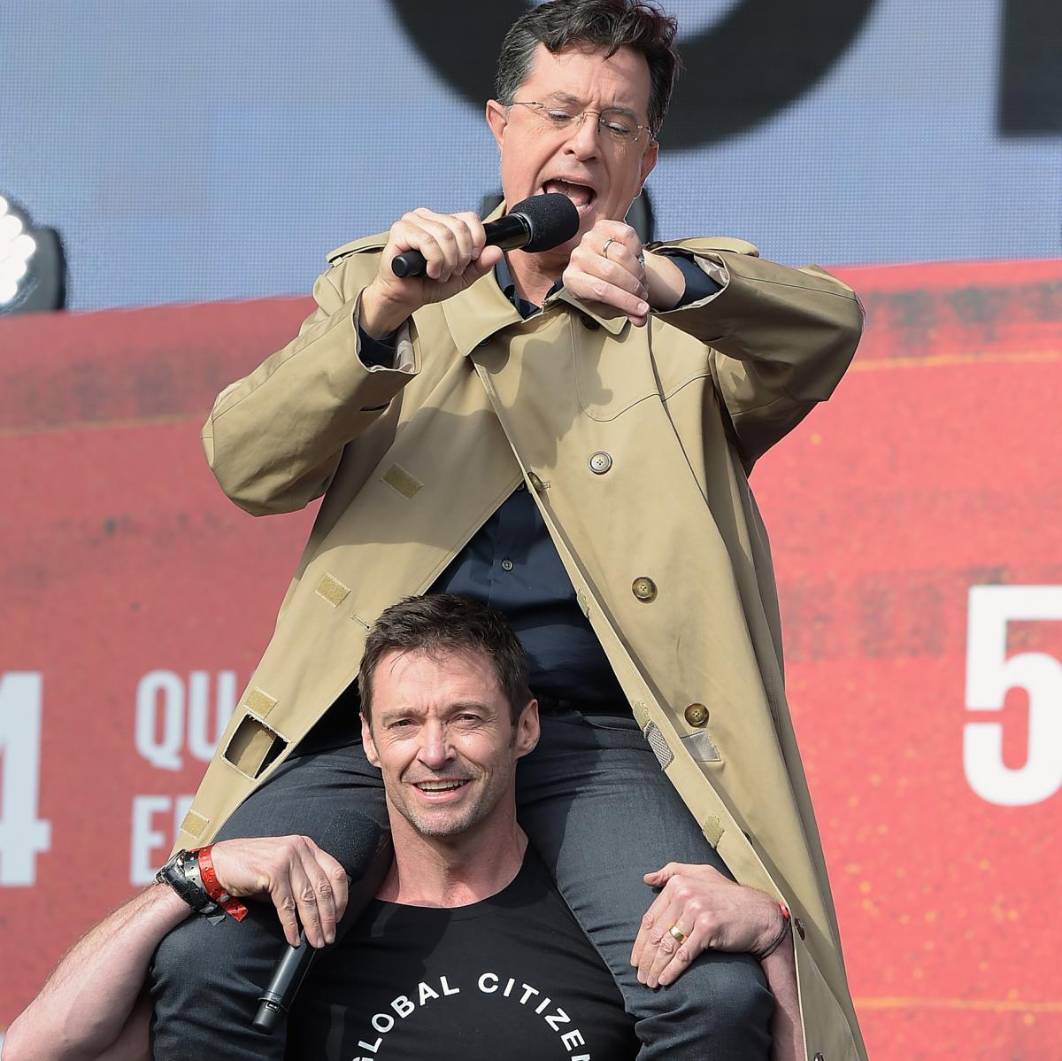 2015 Global Citizens Festival Stephen Colbert and Hugh Jackman