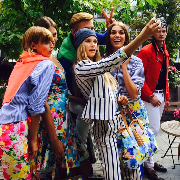Polo Ralph Lauren models take self at spring 2016 presentation at New York Fashion Week