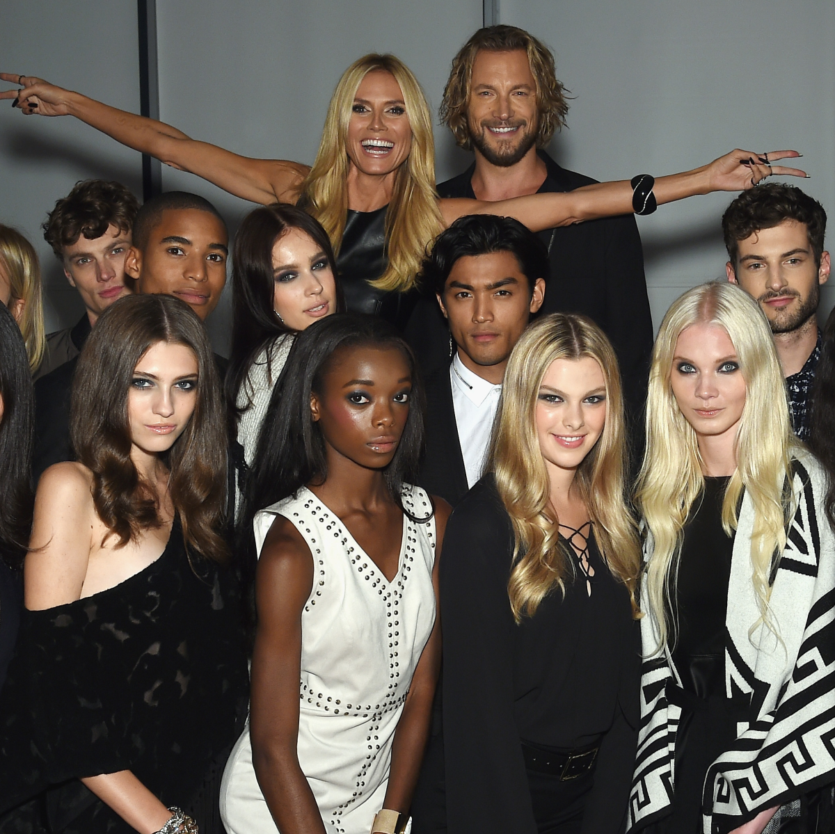 Heidi Klum with models at Macy'c INC party at New York Fashion Week