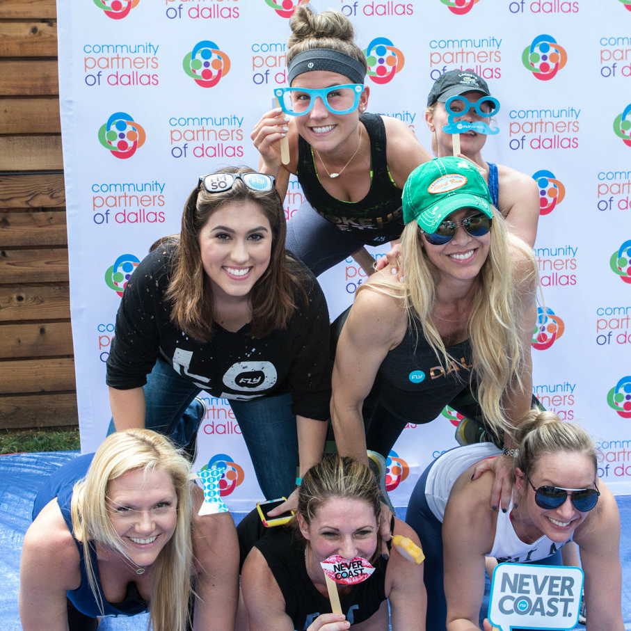 """Team Flywheel Sports"" gaining points at the yCPD social media station:  Top - Chaeley Barber, Missy Quintana; second row - Chelsea Morehart, Kelly Hershman; bottom row: Jolie Laurence, Cristin Caulfield, Mandy Mack"
