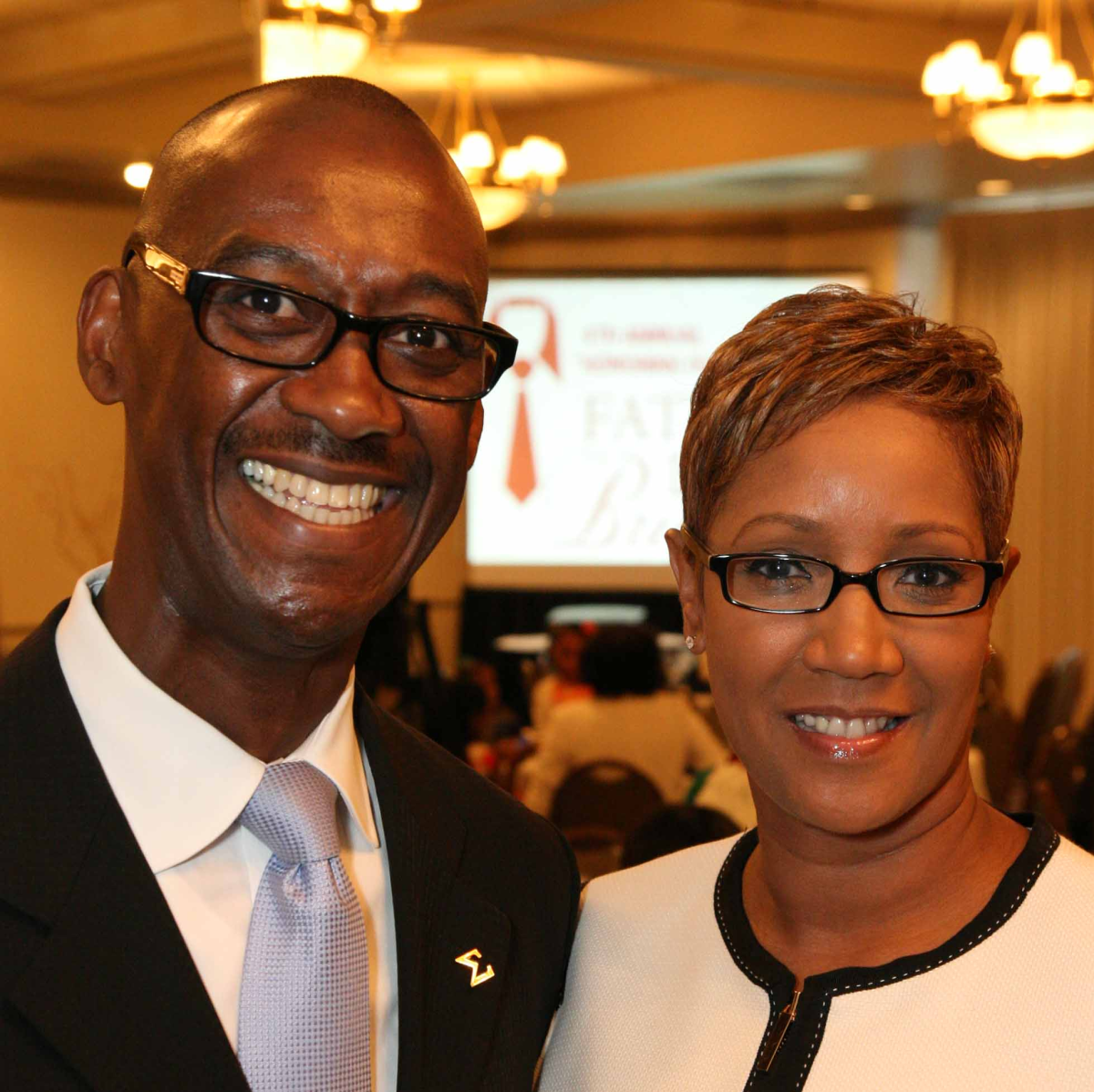 News, Shelby, Morehouse College Father's Day event, June 2015, Honoree Omar Reid and Janice Reid.