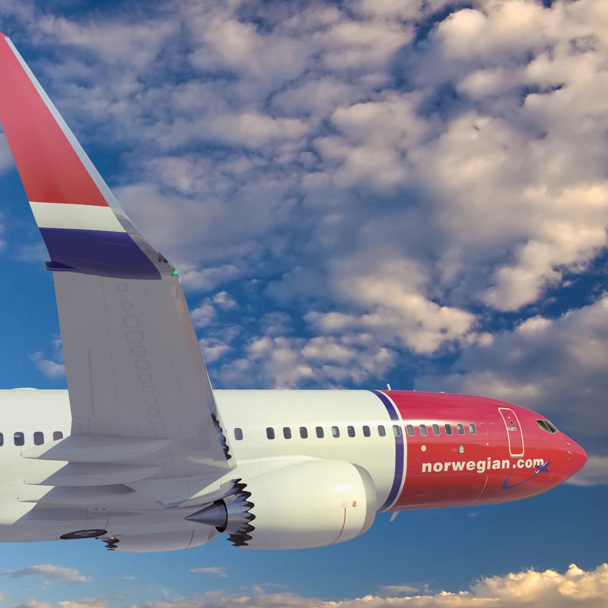 Norwegian airline plane Boeing 737 MAX8