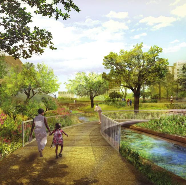 Waller Creek Plans Arc Bridge