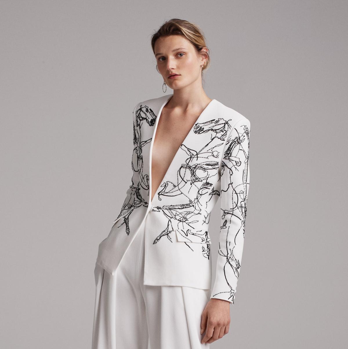 Elizabeth Kennedy spring 2018 look 25 jacket horse motif