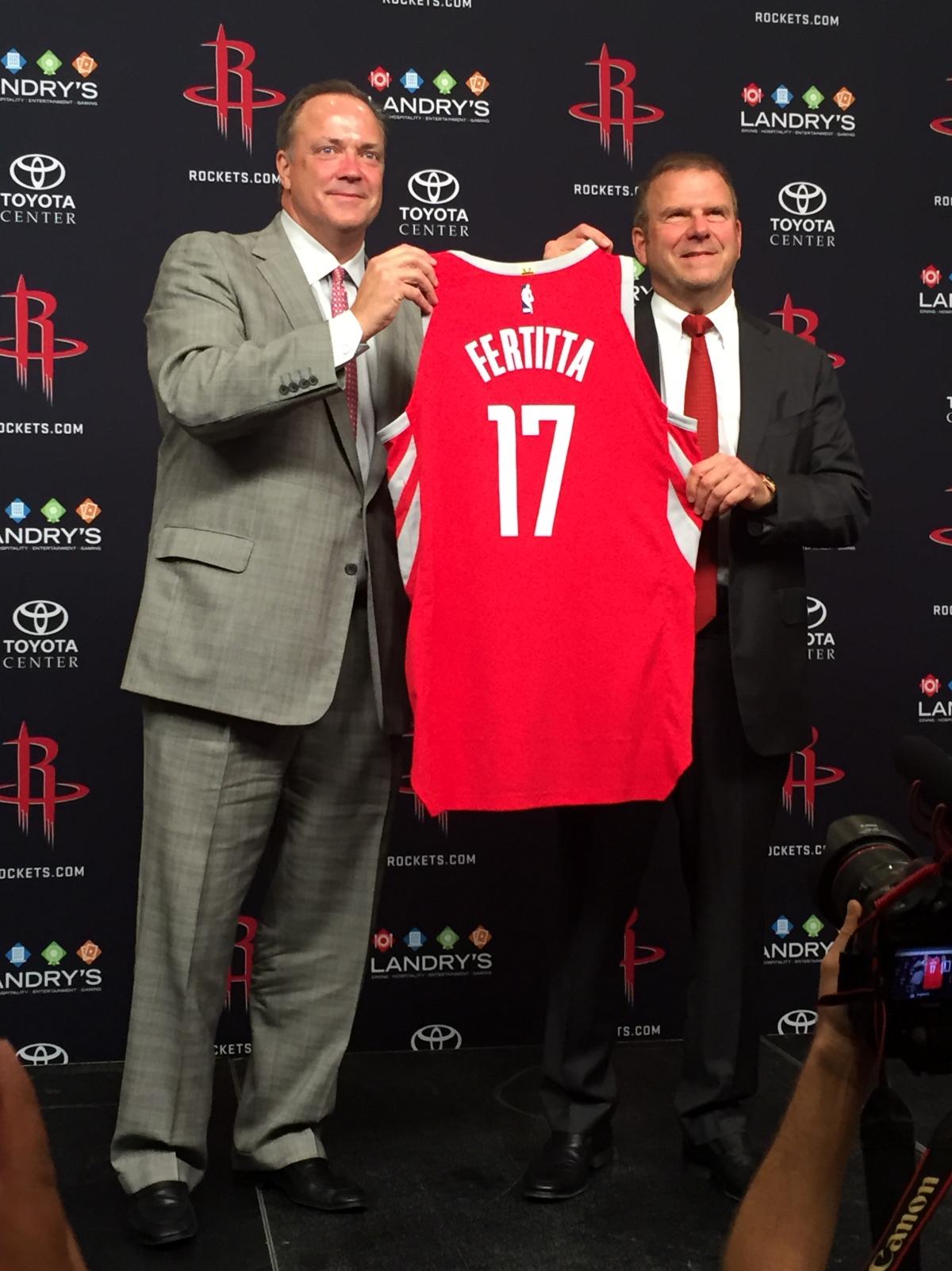 Houston, Rockets CEO Tad Brown and owner Tilman Fertitta, Oct 2017