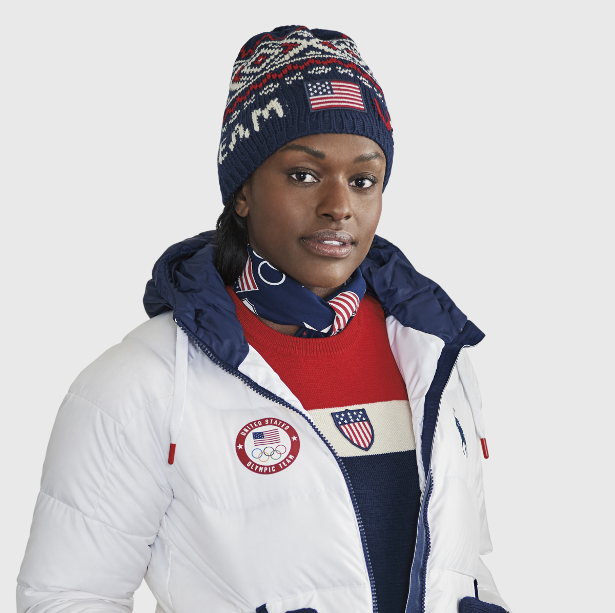 Aja Evans in Ralph Lauren closing ceremony outfit Winter Olympics 2018