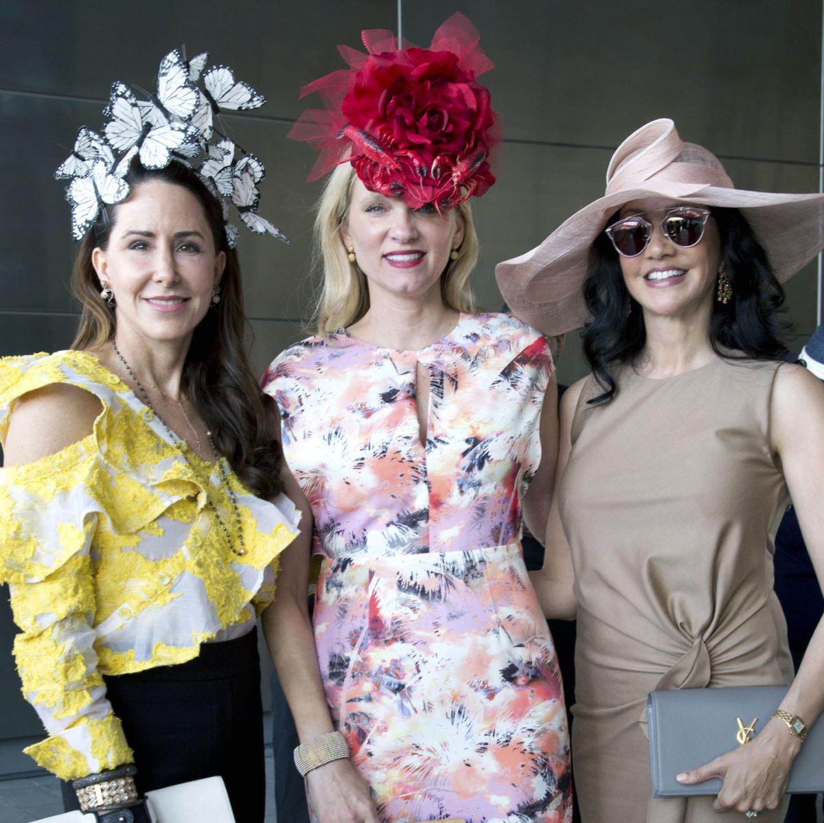 Houston, hats in the park, April 2017, Liz Glanville, Gretchen McFarland, Nancy Littlejohn.