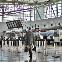 Bush Intercontinental Airport Terminal E waiting area IAH travelers