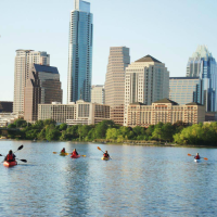 Austin skyline downtown Lady Bird Lake Town Colorado River kayaking