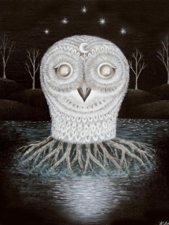 Painting by Kathleen Lolley of owl for The Singing Bone exhibit at grayDUCK