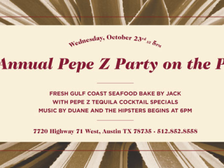 Pepe Z Tequila party invitation to Jack Allen's Kitchen