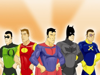 drawings of superheroes for Austin Symphony concert of superhero music