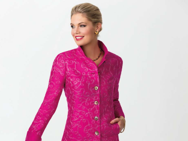 Nina McLemore pink embroidered jacket