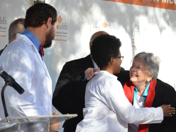 News, Shelby, McGovern Medical School unveiling, Nov. 2015, Matthew Forster, Esther Osuji, Kathrine McGovern