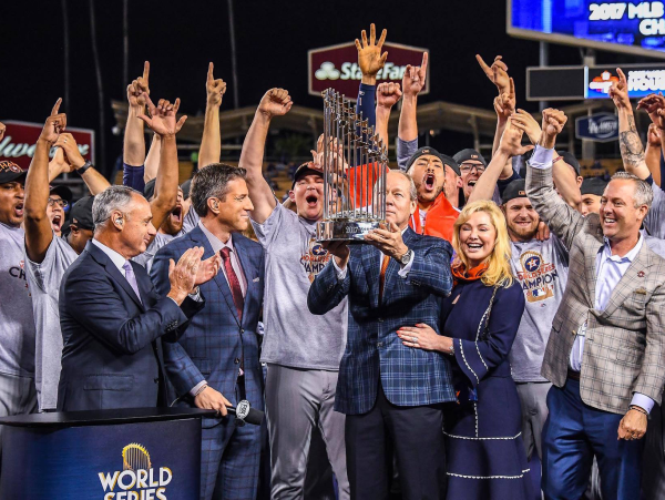 Houston, Astros and Jim Crane with World Series trophy, November 2017