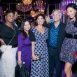 Purple party, unidentified woman, Chloe Dao, Stacey Lindseth, Mickey Rosemarin, Yuan Yuan Zhang