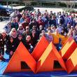 Houston Pet Set volunteers with finished dog houses