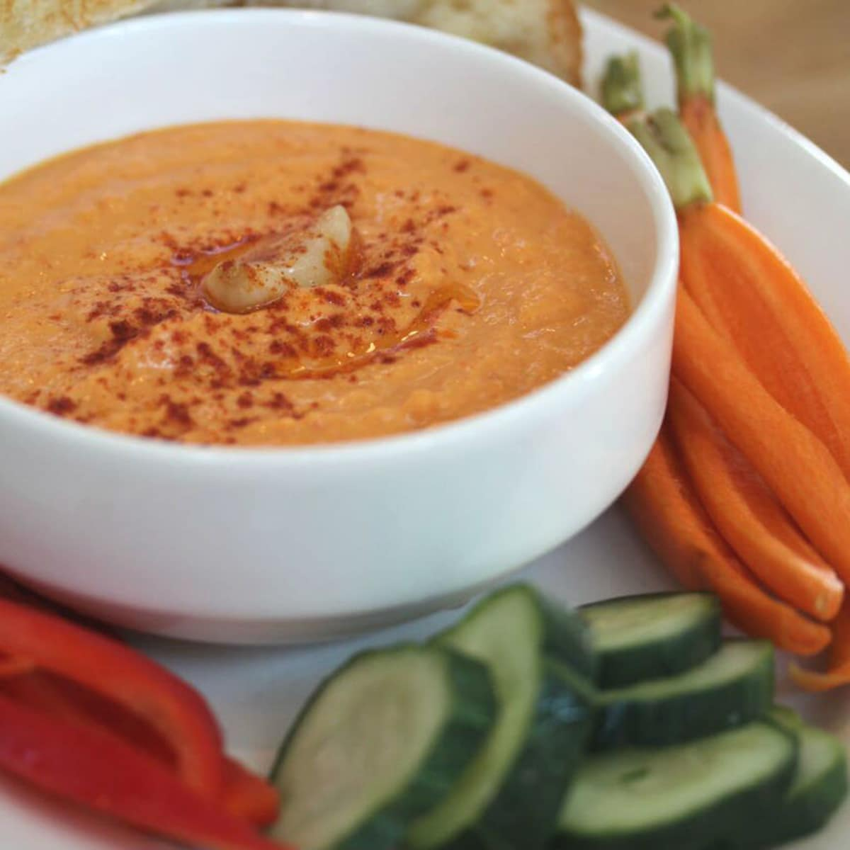 Quill Lounge, roasted red pepper hummus