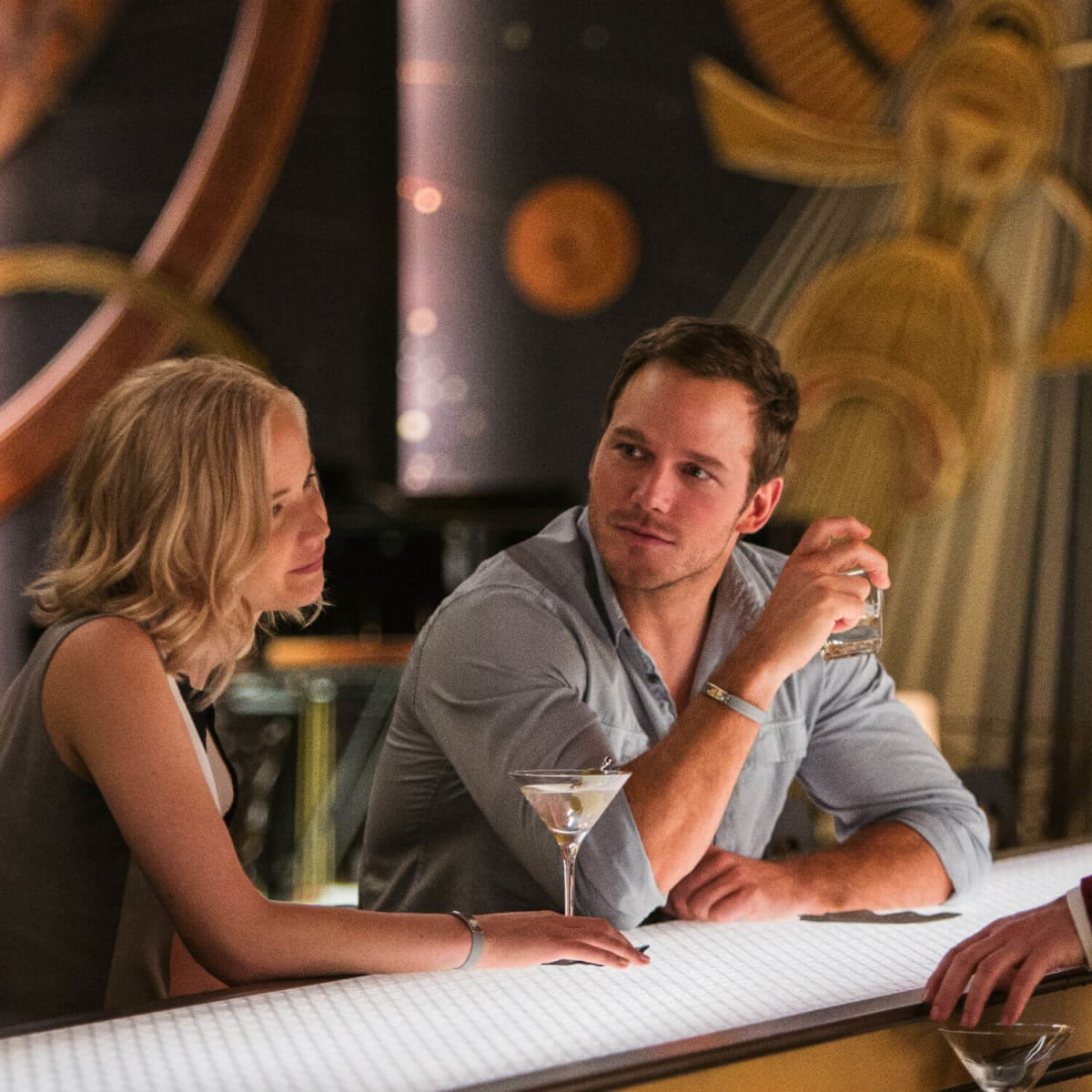 Jennifer Lawrence, Chris Pratt, and Michael Sheen in Passengers
