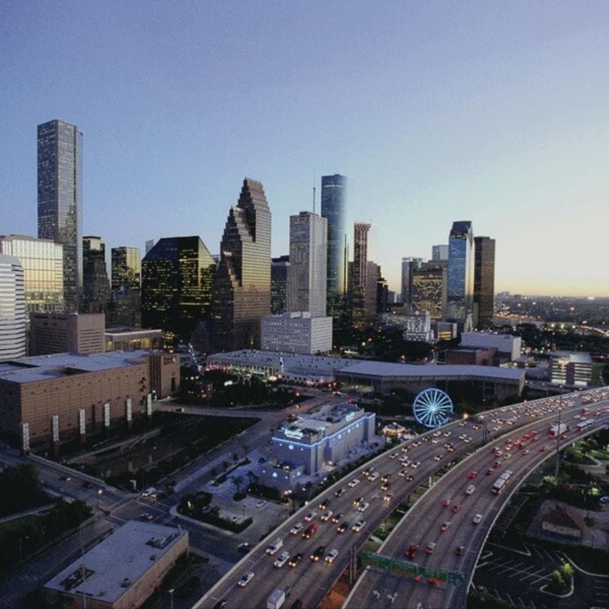Houston skyline freeway aerial