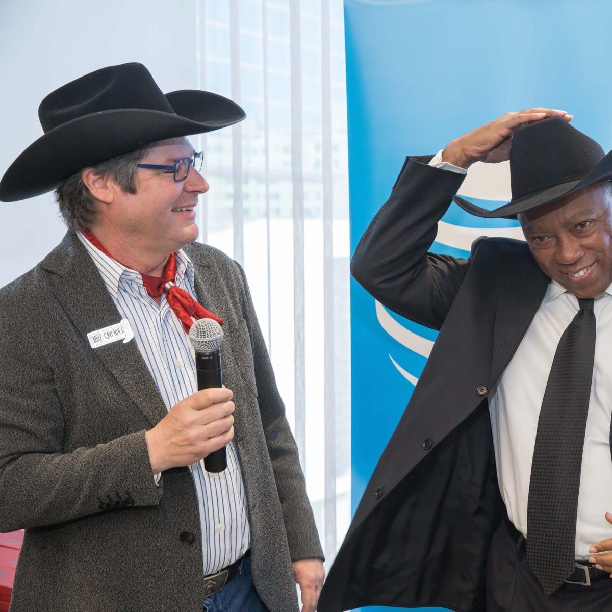Mike Cavender, Mayor Sylvester Turner at Mayor's Rodeo Kick-off Breakfast