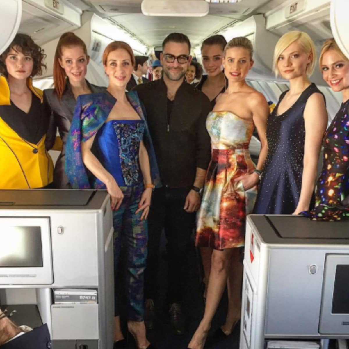 Rubin Singer fashion show on airplane