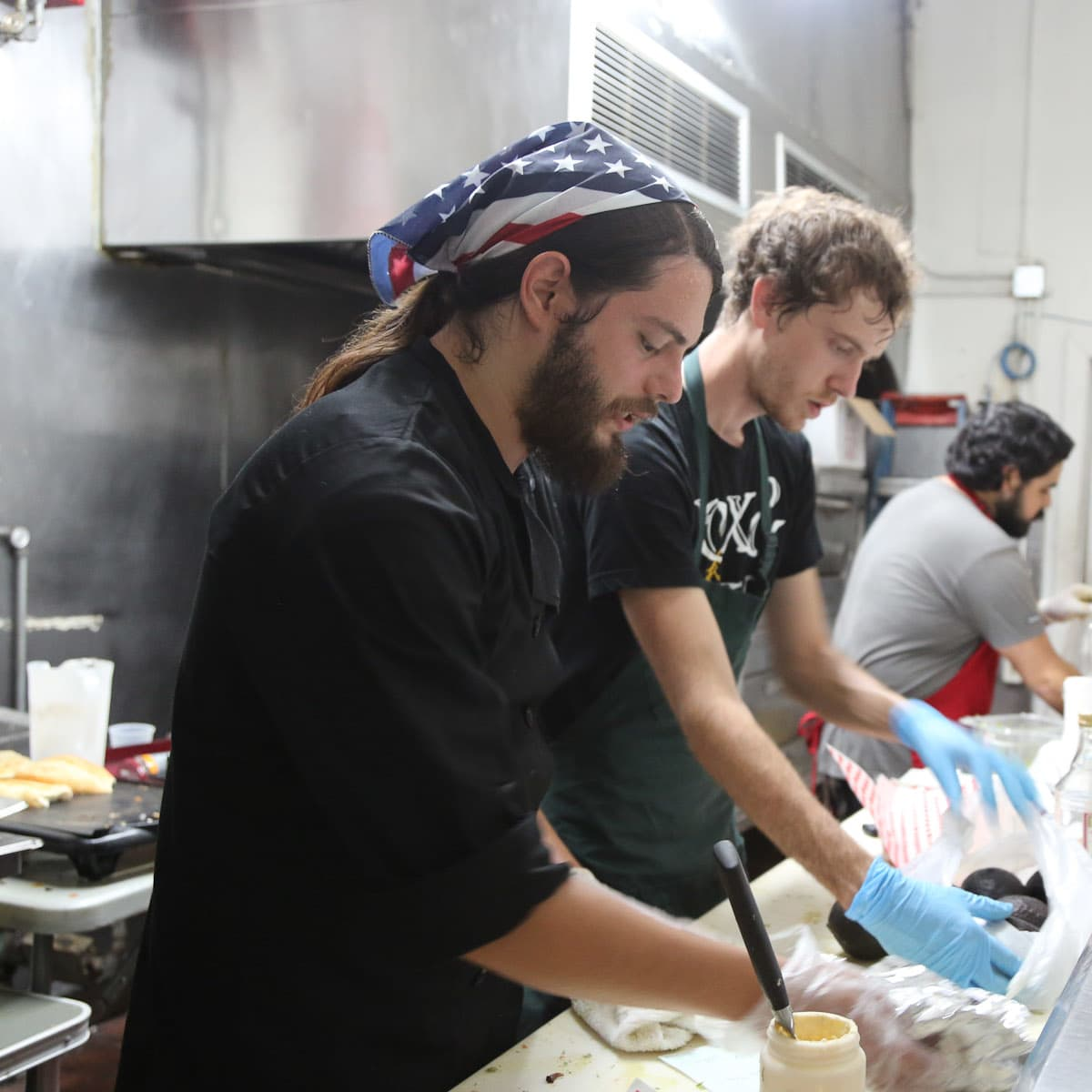 Brave Kitchen Project's first pop-up dinner June 2013 chefs in kitchen