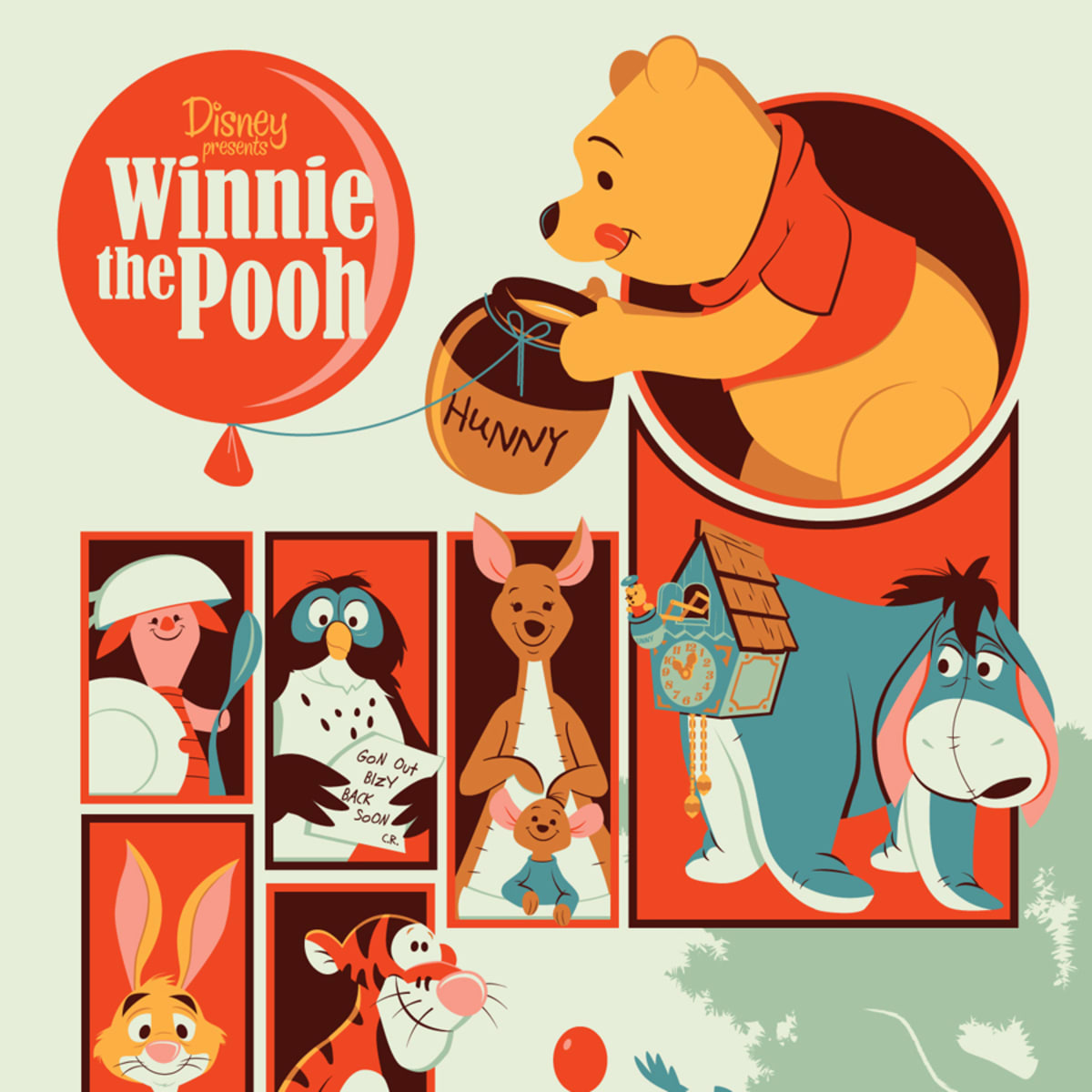 """Winnie the Pooh by Dave Perillo as part of Mondo Gallery """"Nothing's Impossible"""" exhibition"""