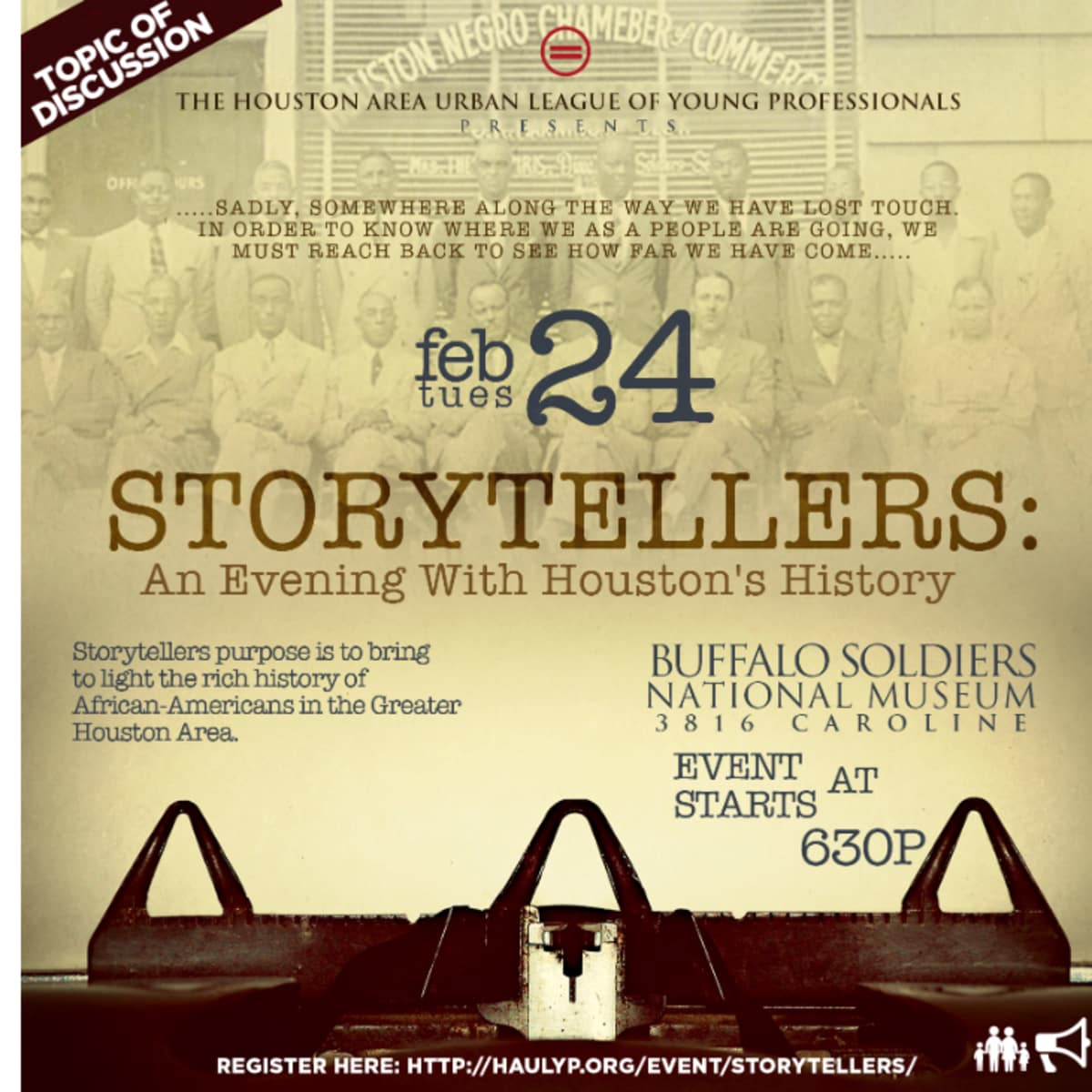 """Houston Area Urban League Young Professionals hosts """"Storytellers: An Evening with Houston History"""""""