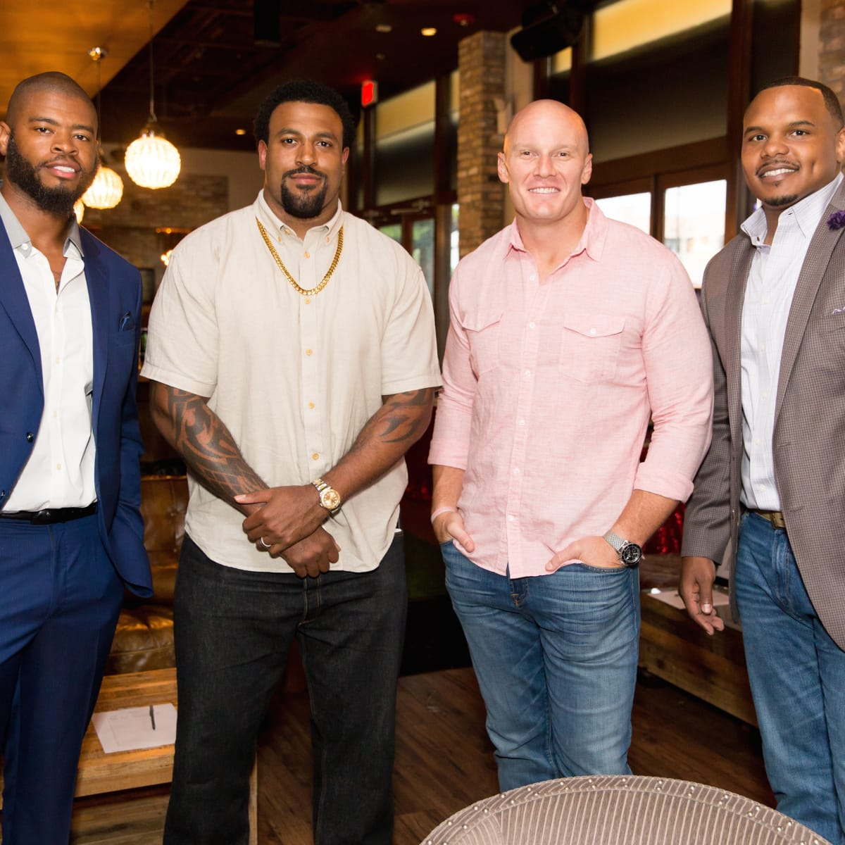 Wade Smith book launch, June 2014, Wade Smith, Duane Brown, Chris Myers, Chester Pitts