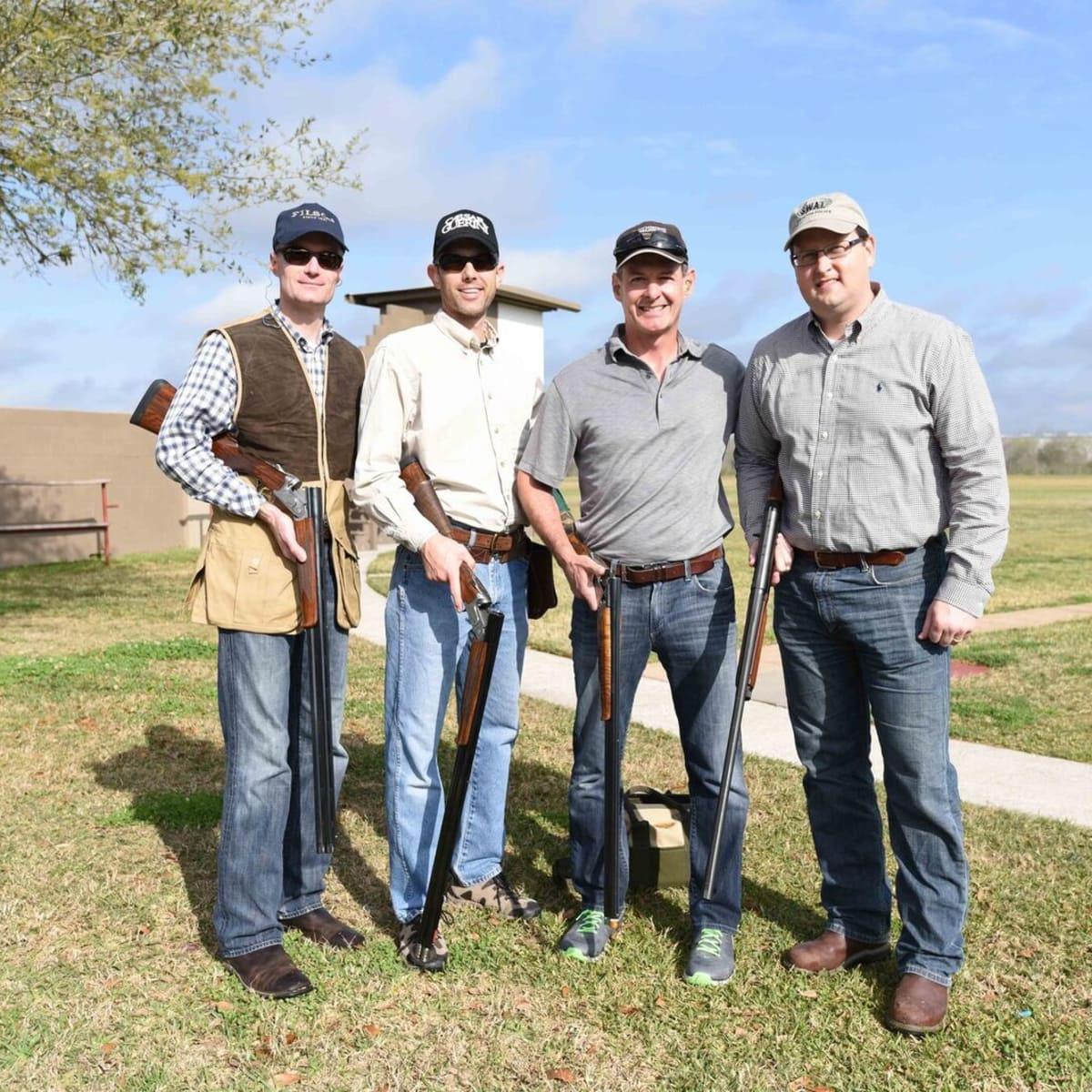 Craig Cordola, Wade Burgess, Scott Breeze, Greg Haralson at Memorial Hermann Clay Shoot