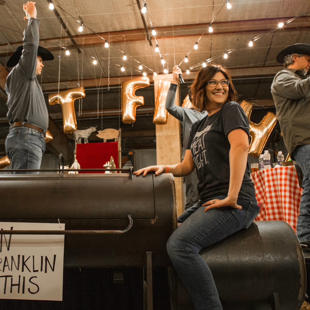 Alice Laussade on Aaron Franklin's smoker at Meat Fight 2015