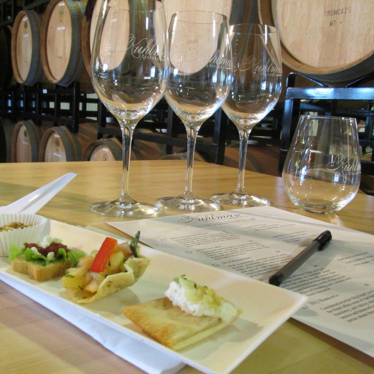 Kuhlman Cellars tasting room wine glasses 2015