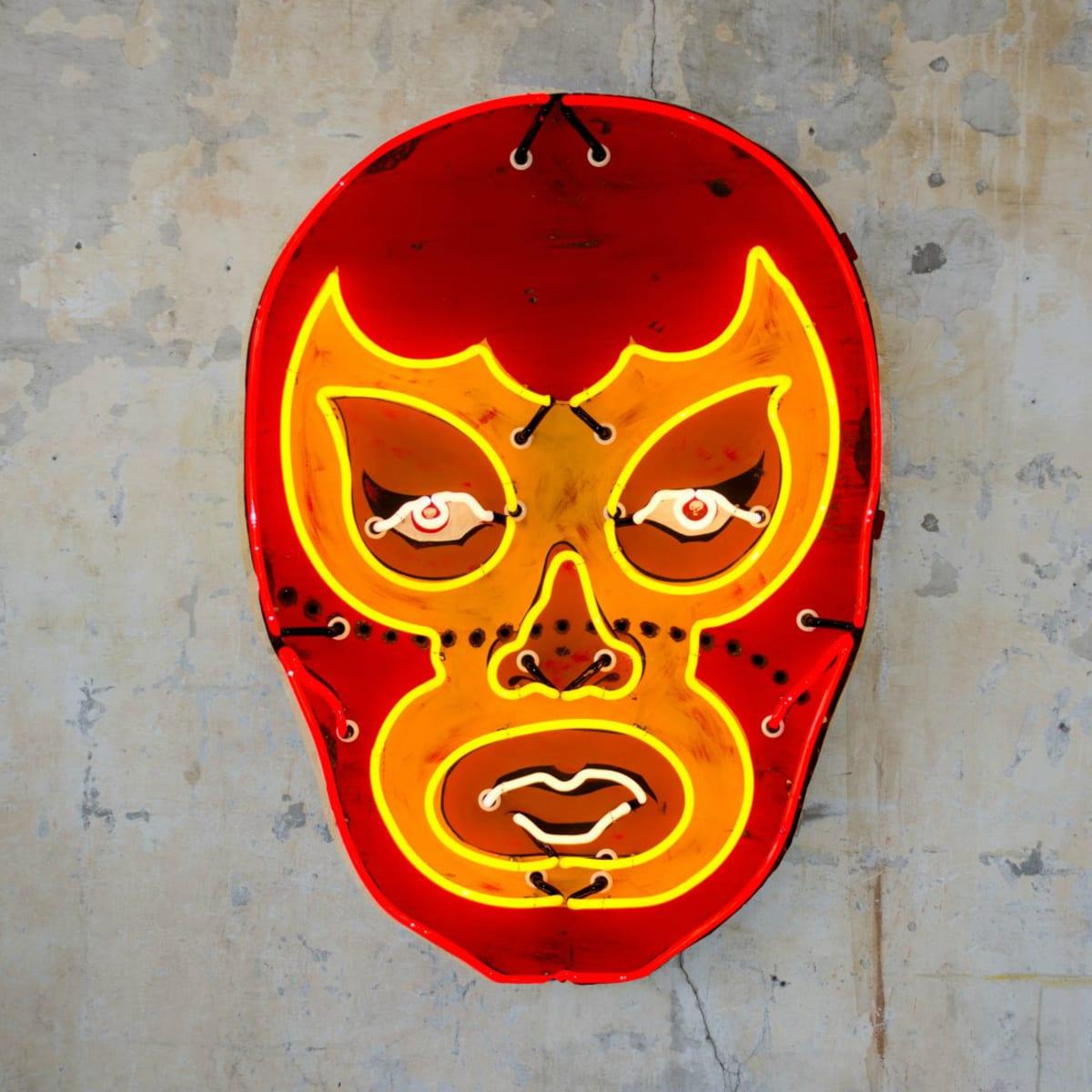 Todd Sanders luchador mask neon light sign Pop Austin International Art Show 2015