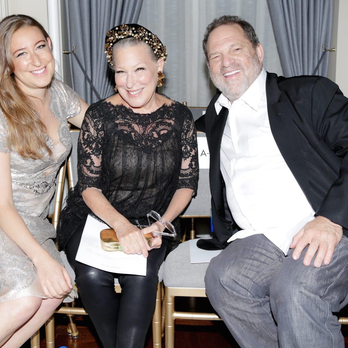 Marchesa front row Sophie von Haselberg, Bette Midler, Harvey Weinstein