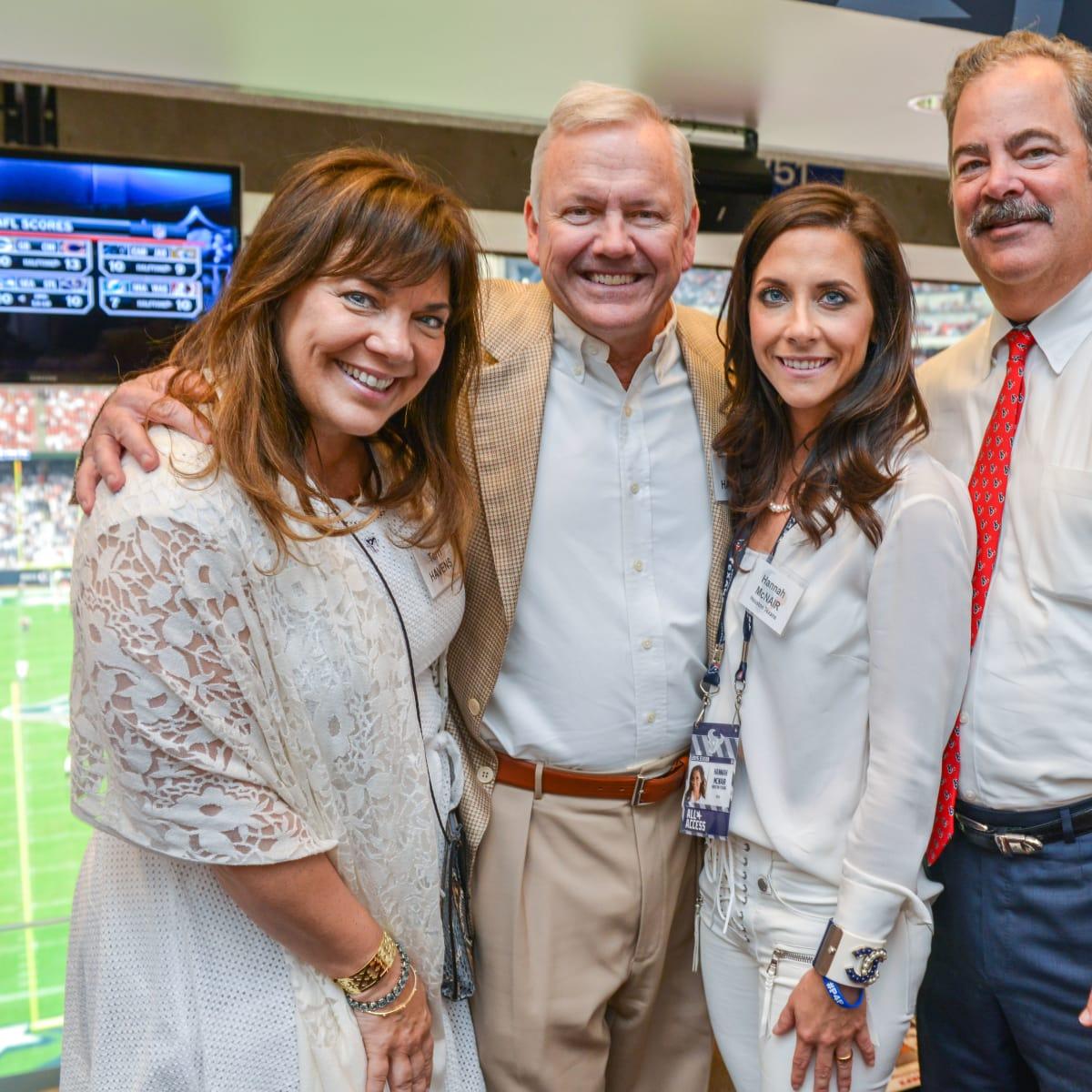 News, Shelby, Texans Owners suite, Sept. 2015, Terri and John Havens, Hannah McNair, Cal McNair