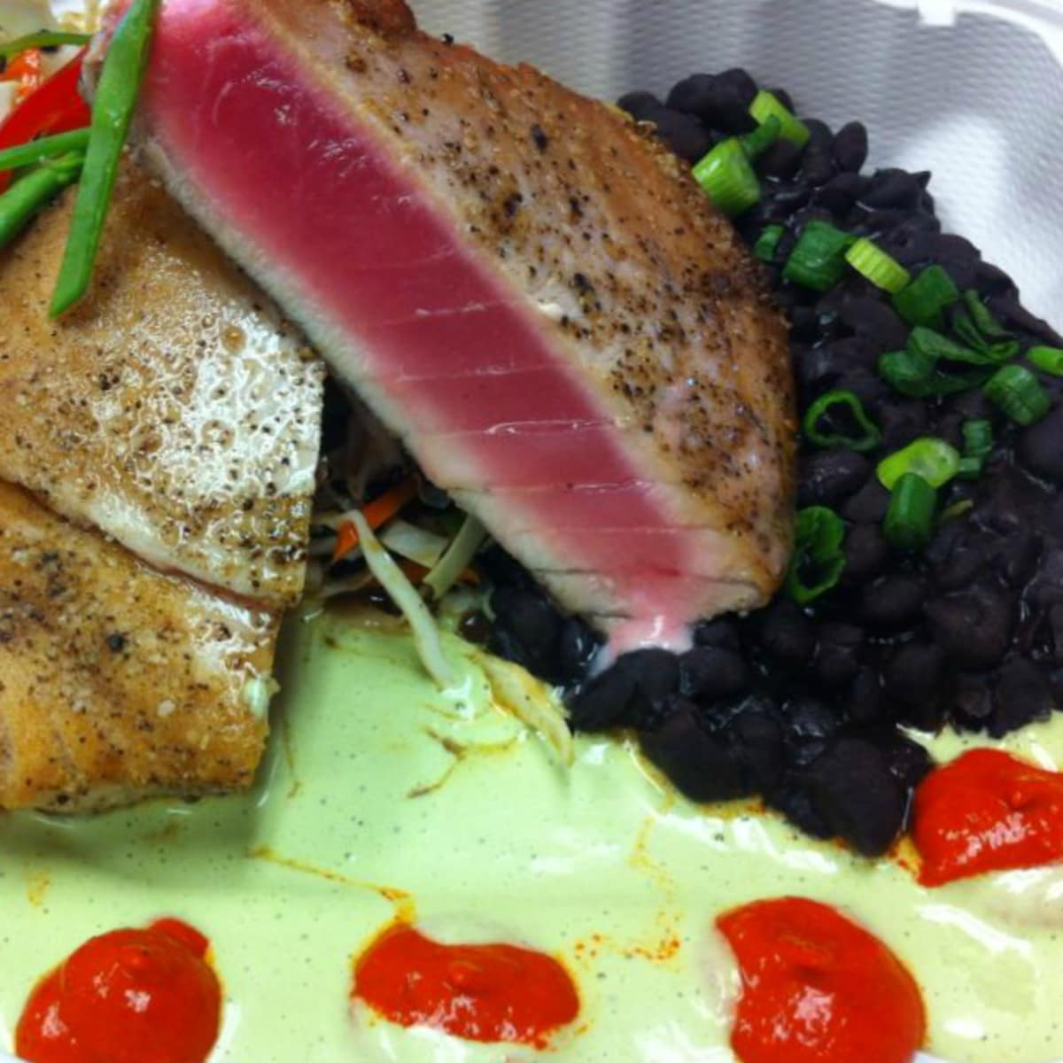 Irie's Island Food Port Aransas restaurant seared tuna dish 2015